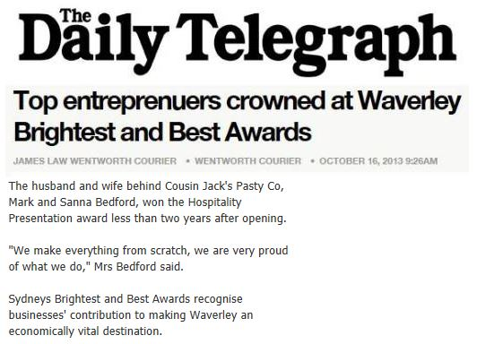 Brightest and best awards snippet - Daily Telegraph