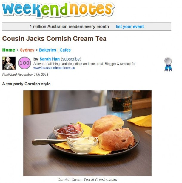 Cousin Jacks Cornish Cream Tea Weekend Notes