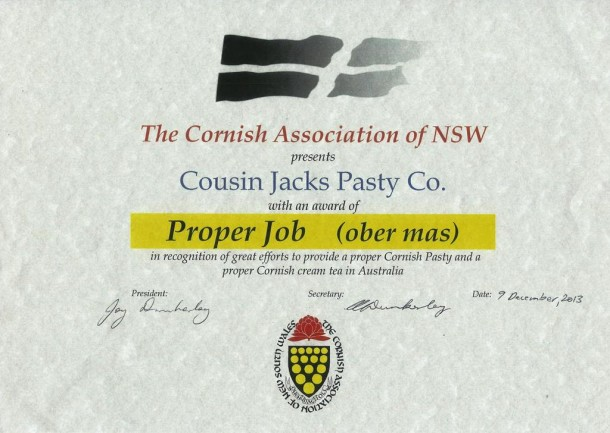 Proper Job certificate from Cornish Association of NSW