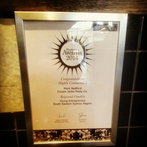 2014 NSW Business Award framed in store